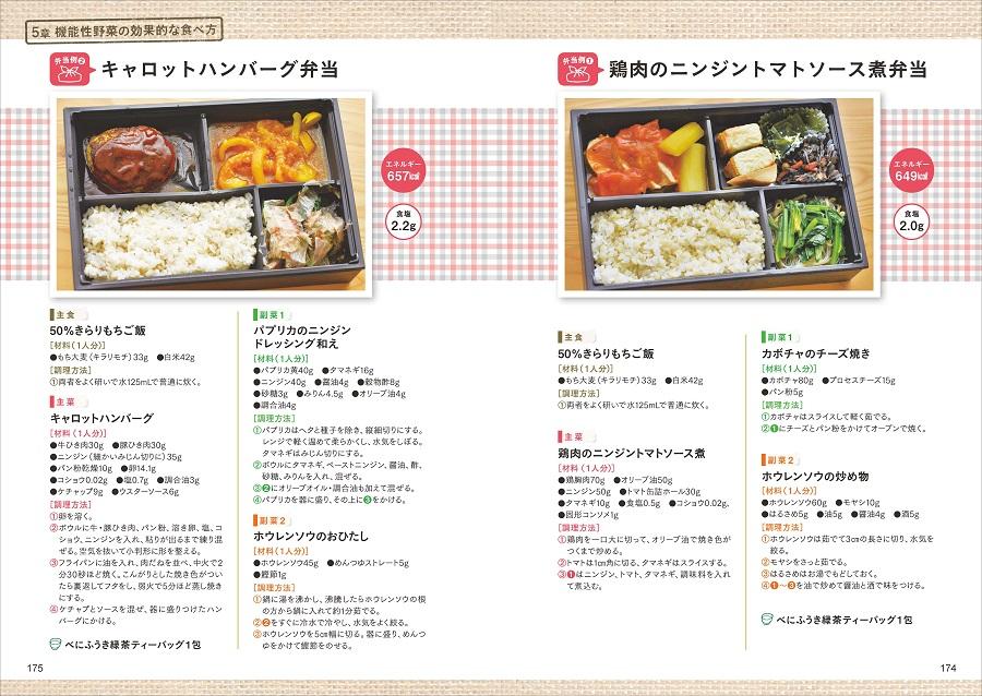写真は、キャロットハンバーグ弁当のレシピ(左)と鶏肉のニンジントマトソース煮弁当のレシピ(右)
