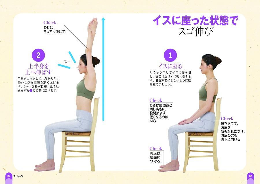 写真は、椅子に座った状態でのストレッチを紹介するページ/『スゴ伸び』(小学館集英社プロダクション)より