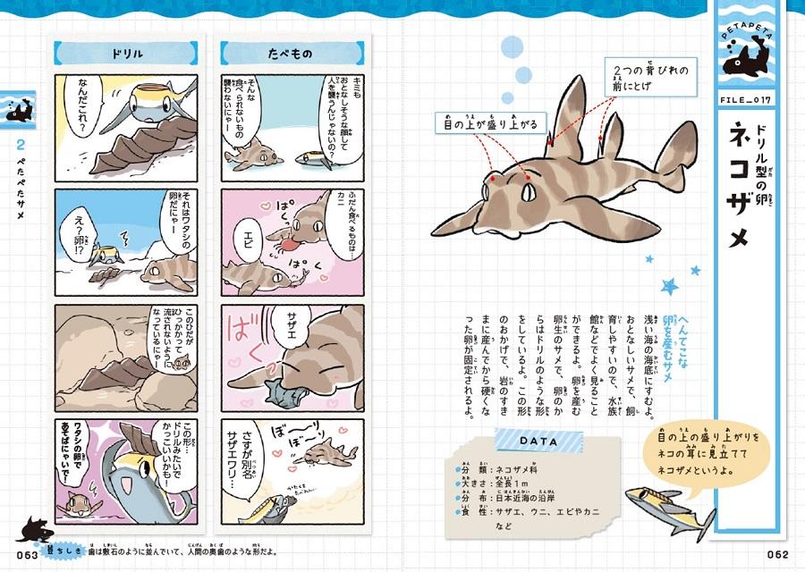 写真は、『ゆるゆるサメ図鑑』(学研プラス)の62,63ページ