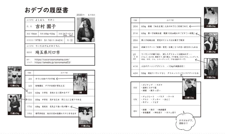 写真は、吉村さんの体型の変化を紹介するページ/『40年間おデブだった私がリバウンドなくスッキリ13㎏やせた‼マインドフルネスダイエット』(主婦の友社)より