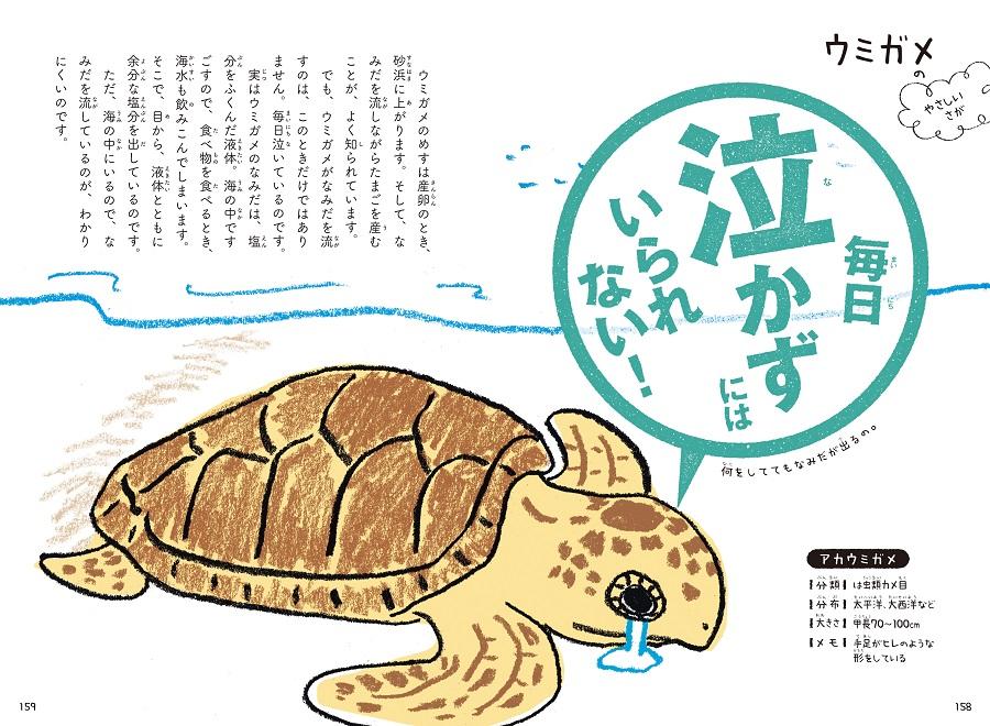 写真は、ウミガメの習性を解説するページ/『これをせずにはいられない! 動物たちの悲しき習性図鑑』(学研プラス)より