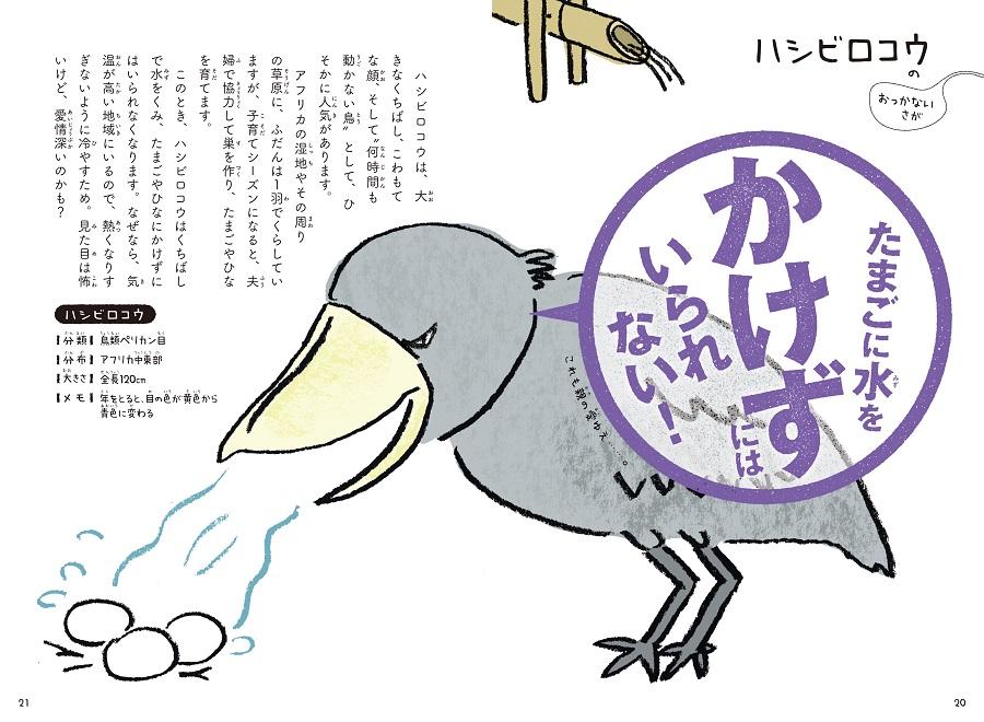 写真は、ハシビロコウの習性を解説するページ/『これをせずにはいられない! 動物たちの悲しき習性図鑑』(学研プラス)より