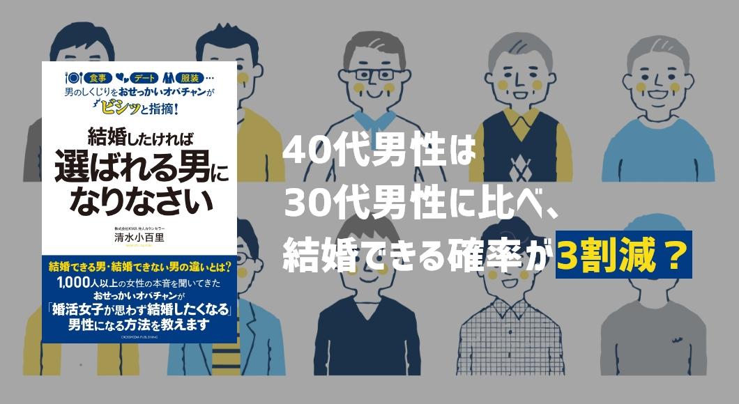 40代男性は30代男性に比べ、結婚できる確率が3割減?