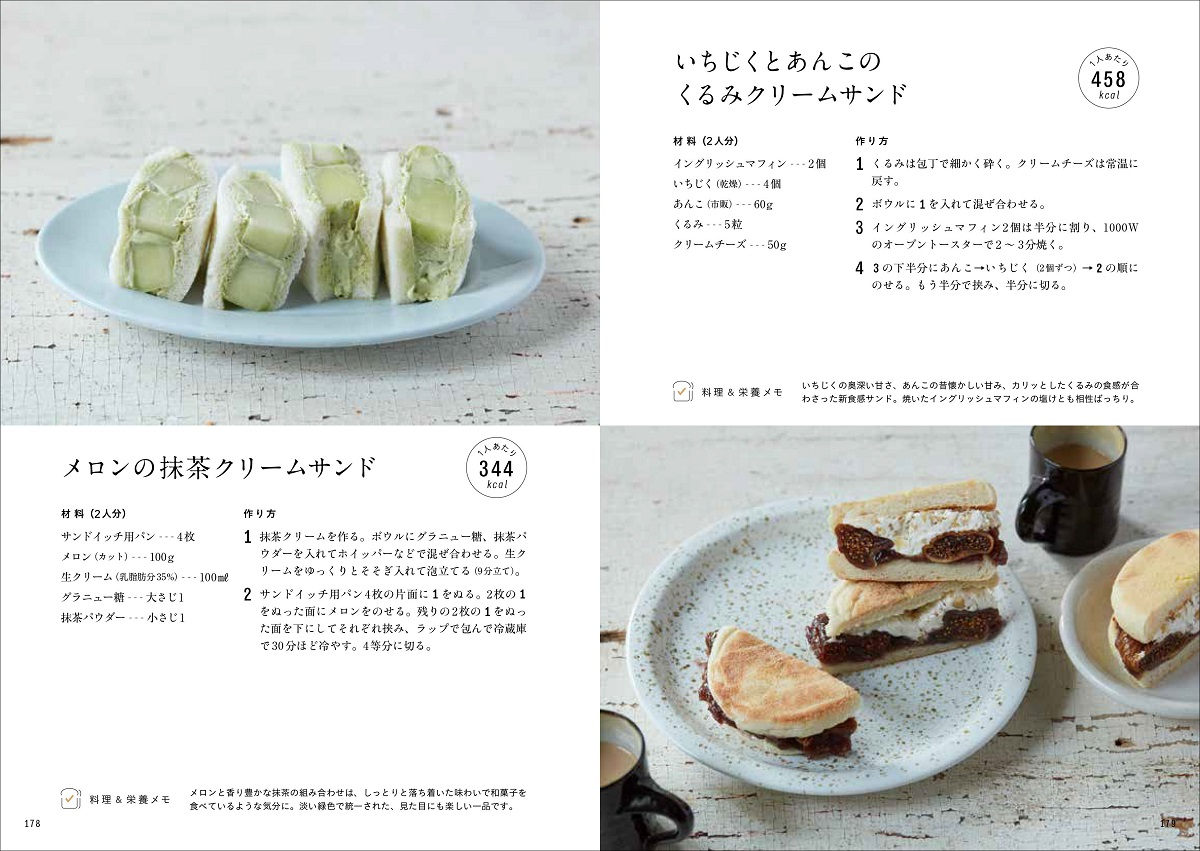 画像は、『野菜たっぷり具だくさんの主役サンド150』(誠文堂新光社)より。デザート系のサンドも