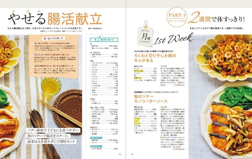 画像は、『ラクやせ腸活レシピ108 食べてやせる! やせ菌ダイエット』(扶桑社)より。おすすめ食材も一目瞭然