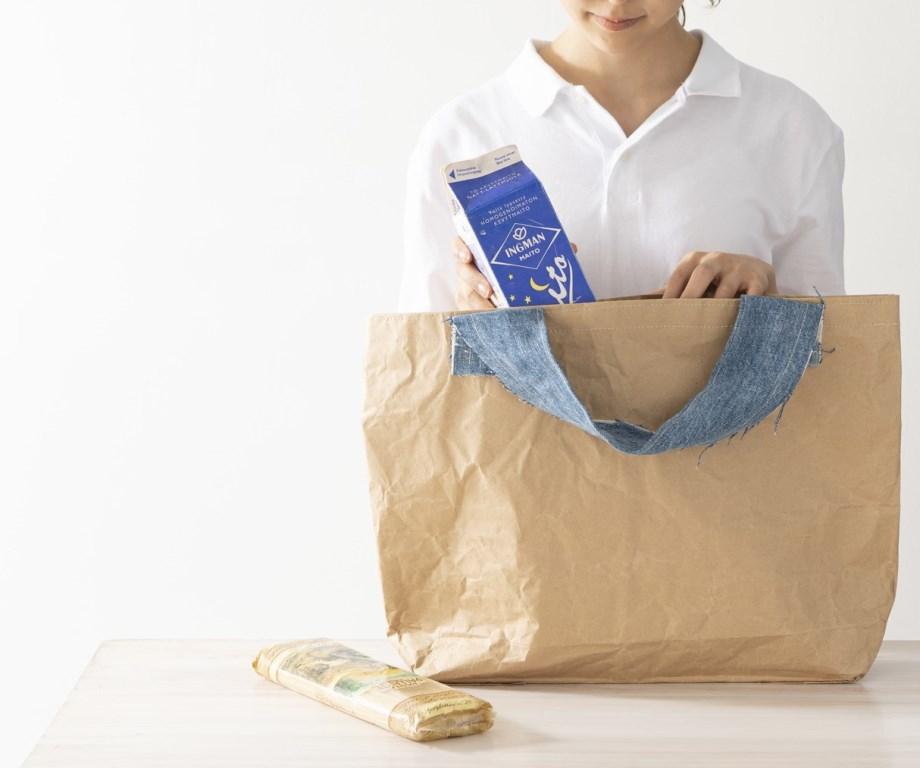 驚きのリサイクル! 米袋とジーンズがバッグになった