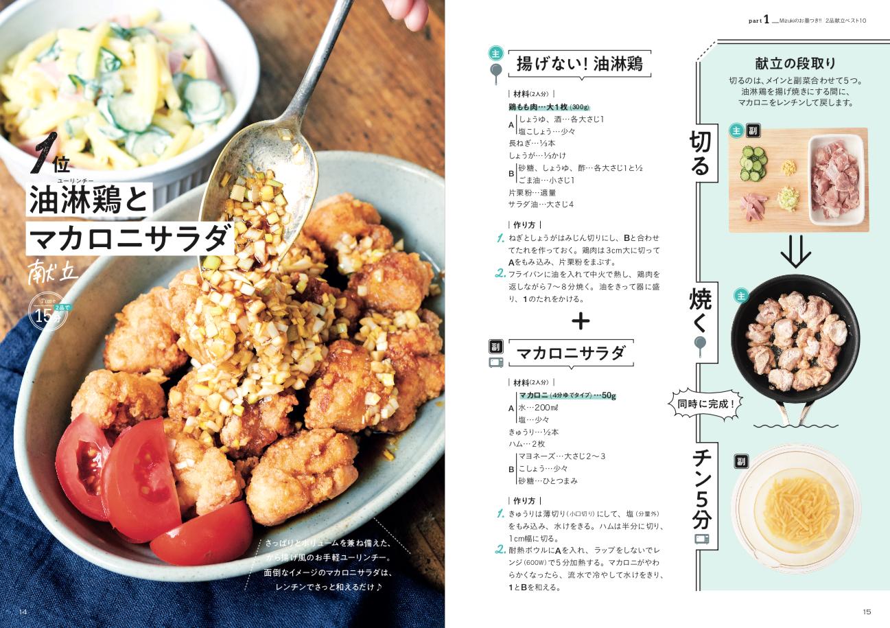 画像は、揚げない油淋鶏とマカロニサラダのレシピ