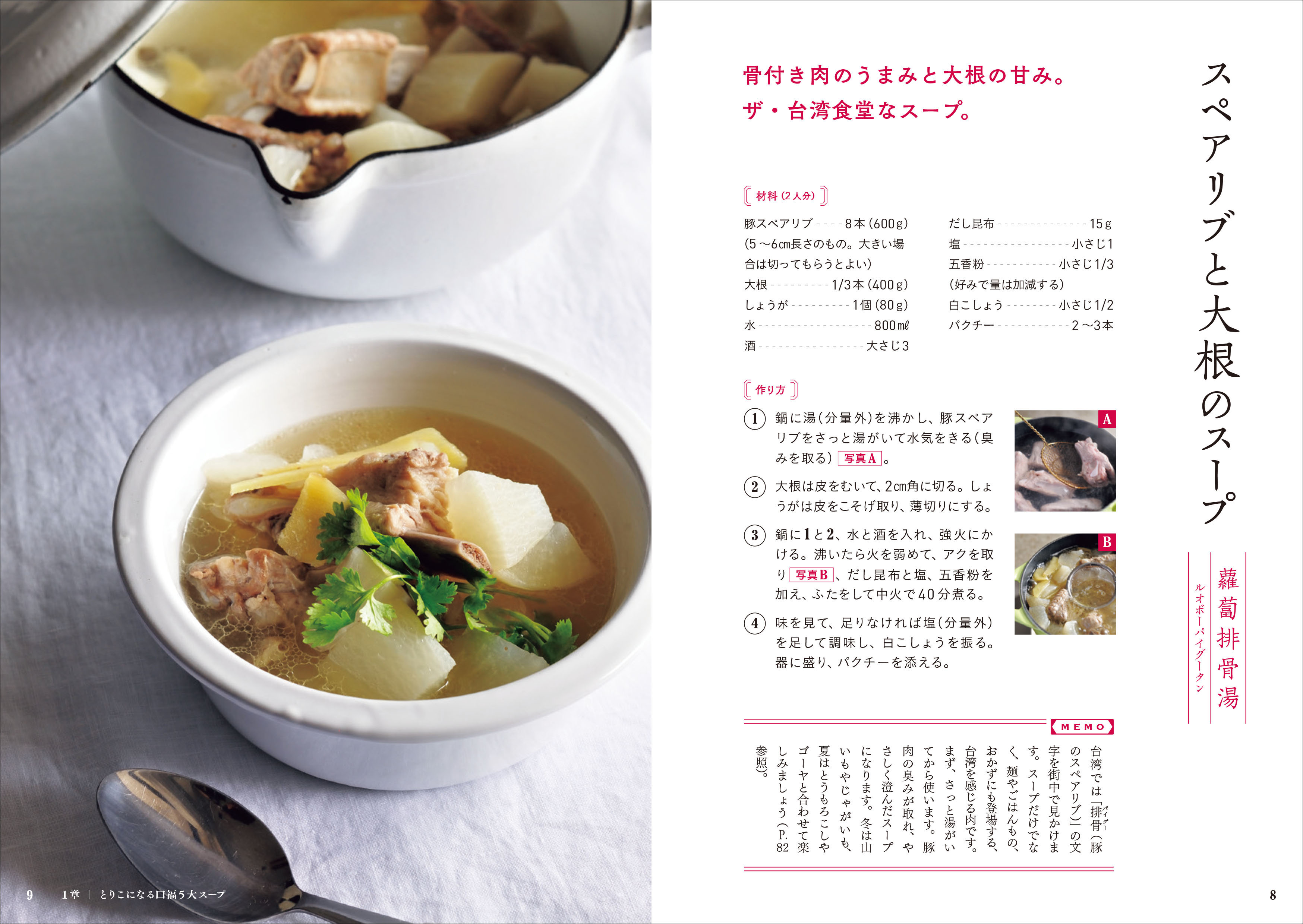 画像は、『台湾スープ』(誠文堂新光社)より。「スペアリブと大根のスープ」のレシピページ