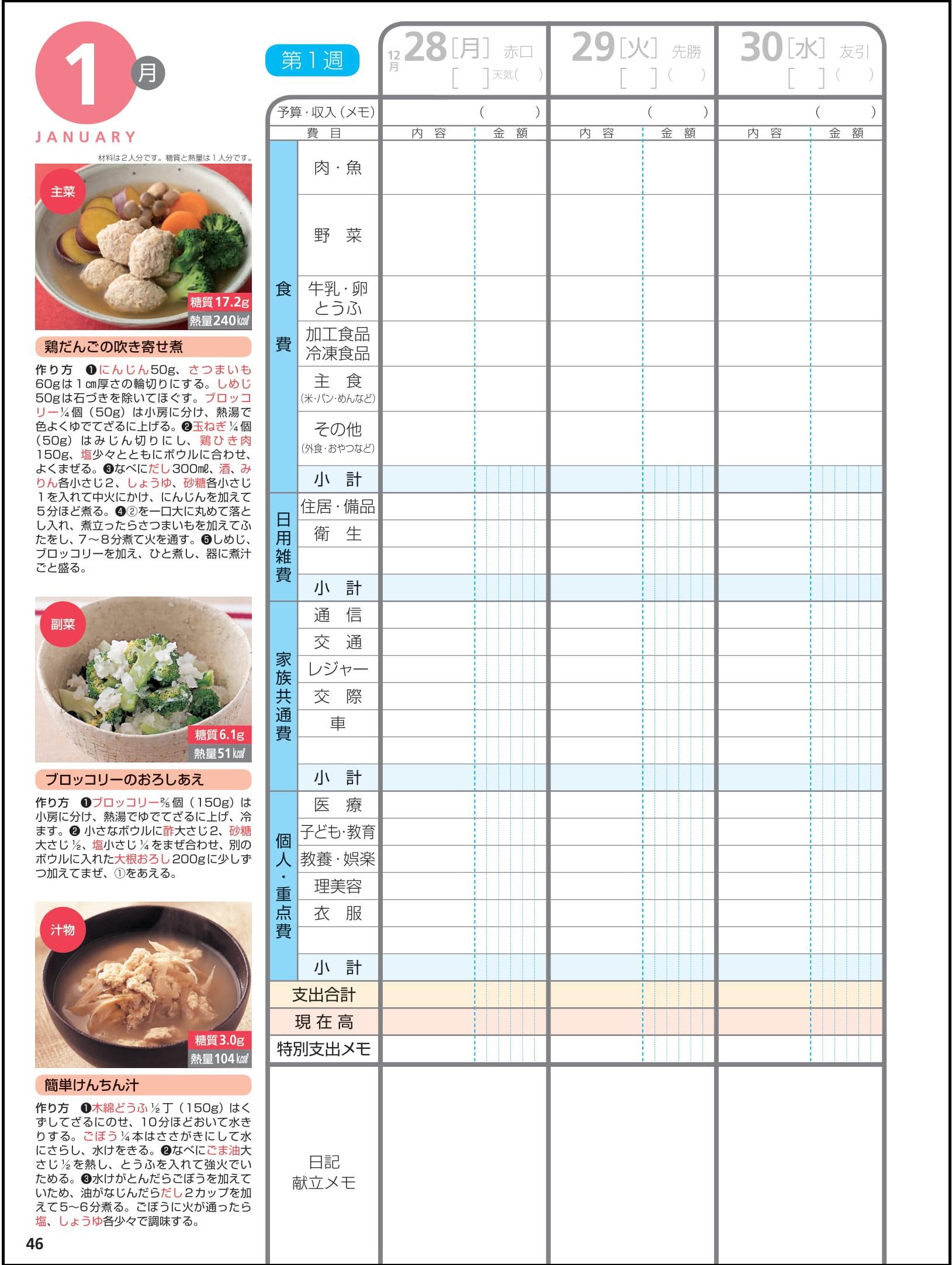 週ごとに主菜・副菜・汁物のレシピを掲載献立に迷った時に役立つ