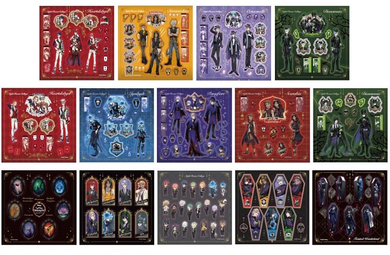 画像は、『ディズニー ツイステッドワンダーランド シール&メモBOOK』(講談社)より(以下、同じ)。14枚のシールシート