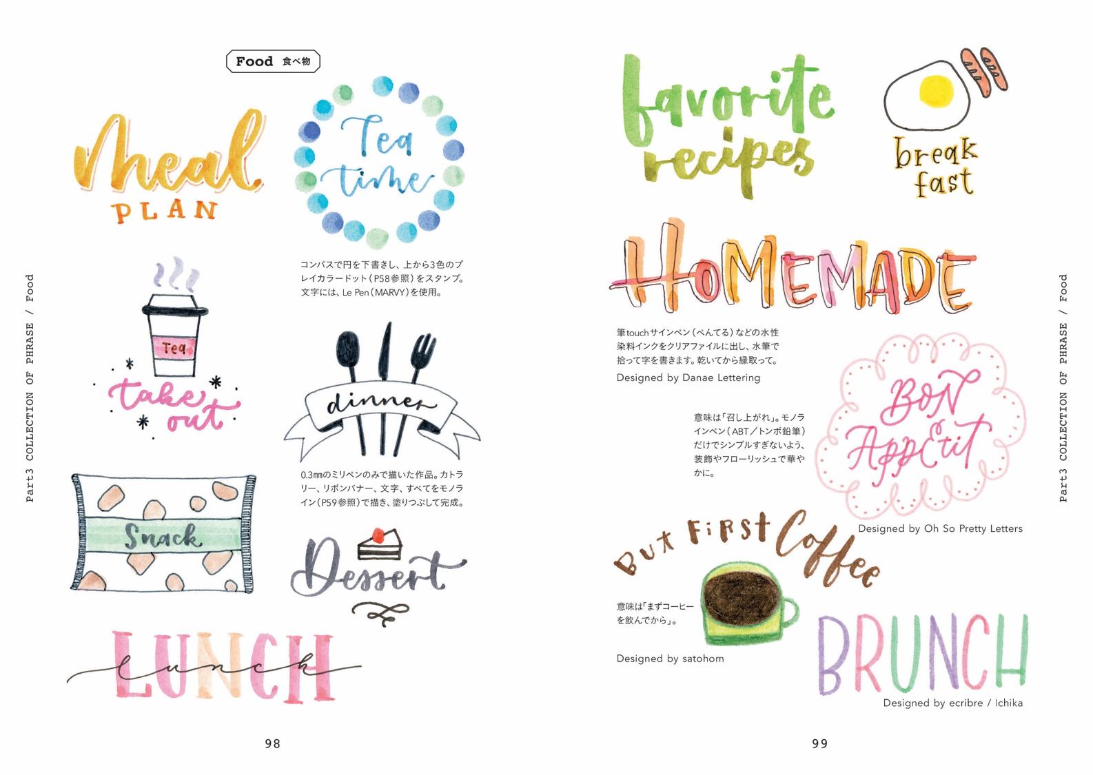 かわいいイラストやフレーズ、飾りの例を多数掲載