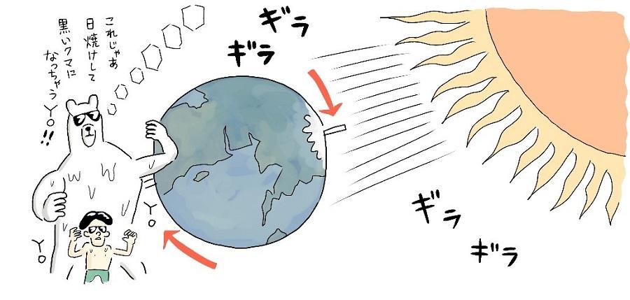 写真は、気温が上がる地球のイラスト(提供:ぶんか社)