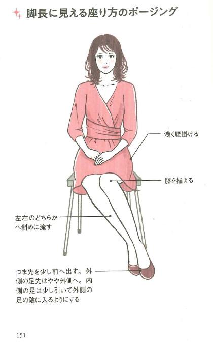 画像は「脚長に見える座り方のポージング」のページ。